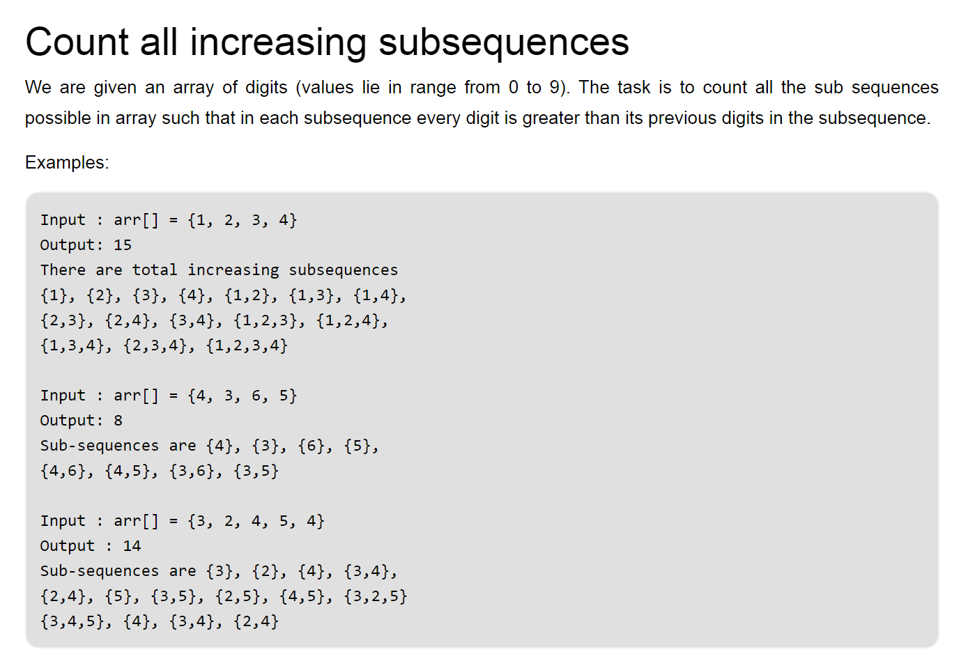 dynamic programming example for counting all increasing sequences