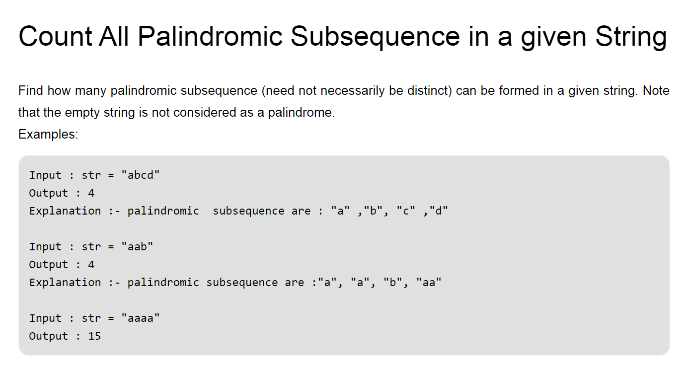 count all palindromic subsequence in a string
